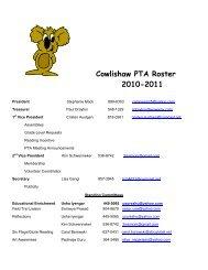 Cowlishaw PTA Roster 2010-2011 - Cowlishaw Elementary School