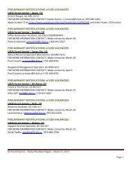 PRELIMINARY NOTIFICATIONS of JOB VACANCIES ...