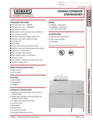 Hobart Crs66a Dishwasher Wiring Diagram On Hobart Images. free ... on