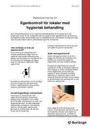 Egenkontroll för lokaler med hygienisk behandling