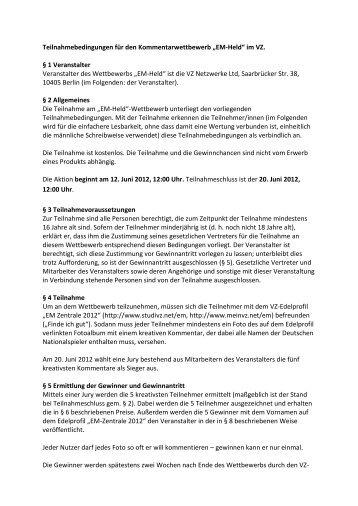 Teilnahmebedingungen für den Kommentarwettbewerb ... - studiVZ