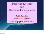 Superconductivity and Quantum Entanglement - Harvard University