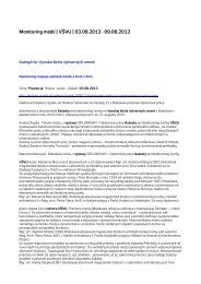 Monitoring médií 3. – 9. 8. 2013 - Vysoká škola výtvarných umení ...