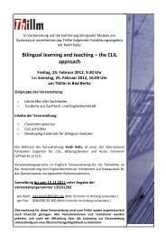 Bilingual learning and teaching – the CLIL approach
