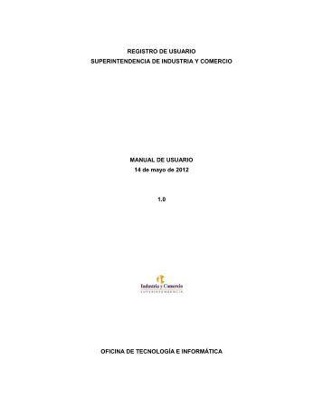 REGISTRO DE USUARIO SUPERINTENDENCIA DE INDUSTRIA Y ...