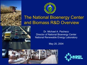 NREL's Bioconversion Project Portfolio - National Center for Food ...