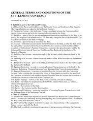 general terms and conditions of the settlement contract