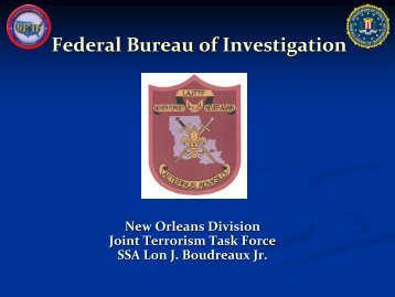 Federal Bureau of Investigation (FBI) Presentation by ... - Louisiana