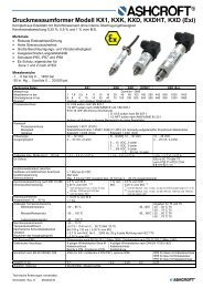 Datenblatt KX1/KXD - Ashcroft Instruments GmbH
