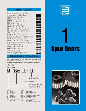 Section 1. - Spur Gears - Quality Transmission Components