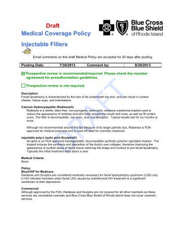 Draft Medical Coverage Policy Injectable Fillers - Blue Cross & Blue ...
