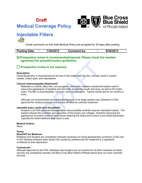 Draft Medical Coverage Policy Injectable Fillers - Blue