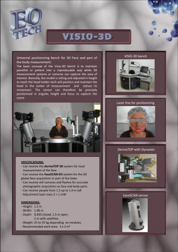 VISIO-3D bench Laser line for positionning DermaTOP with ...