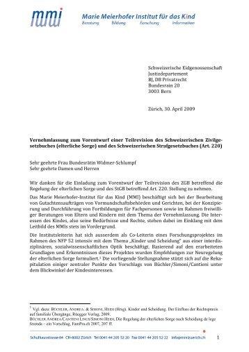 Vernehmlassung des MMI - Marie Meierhofer Institut für das Kind