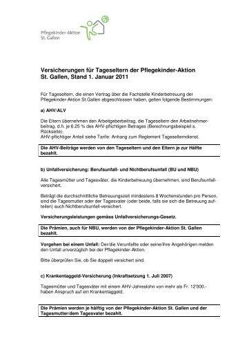 Versicherungen Tageseltern 2011 - Pflegekinder-Aktion St. Gallen
