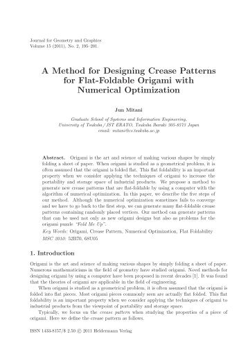 A Method for Designing Crease Patterns for Flat-Foldable Origami ...