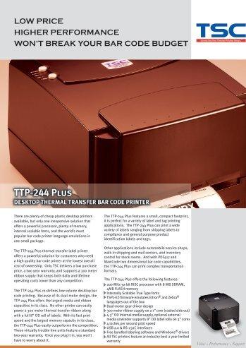 TTP-244 Plus DESKTOP THERMAL TRANSFER BAR CODE - TSC