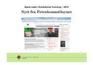Åpent møte i Kranteknisk Forening – 2012 Nytt fra Petroleumstilsynet