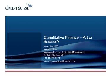 Quantitative Finance - Art or Science?