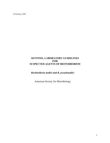Burkholderia mallei and B. pseudomallei - Microbiology - American ...