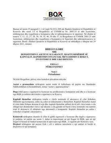 Rregullore mbi Depozitimin e aseteve si garancë, mjaftueshmërisë ...