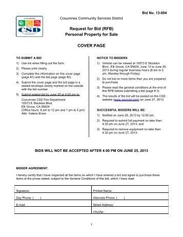 Bid Packet v4 06-12-2013 - Cosumnes Community Services District