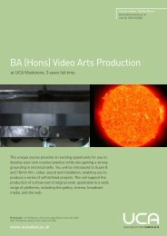BA (Hons) Video Arts Production - University for the Creative Arts