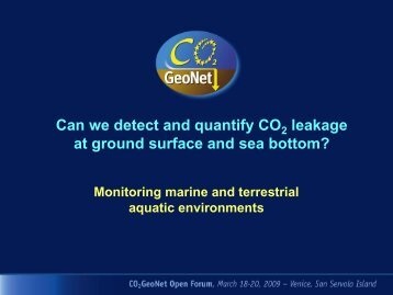 Monitoring marine and terrestrial aquatic environments - CO2Geonet