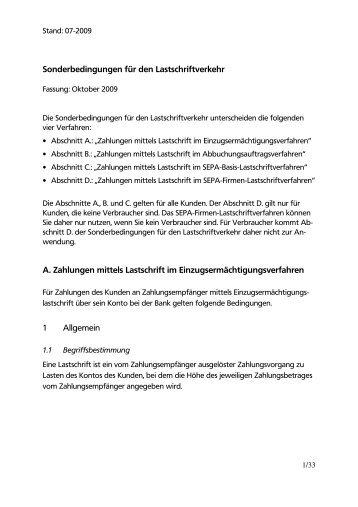 Sonderbedingungen für den Lastschriftverkehr A. Zahlungen mittels ...