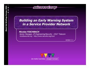 Building an Early Warning System in a Service Provider ... - Black Hat