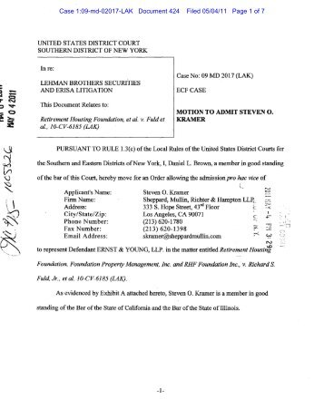 Motion to Admit Steven O. Kramer to Appear Pro Hac Vice - Lehman ...