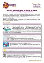 NOTRE PROGRAMME JUNIOR SYDNEY - Boomerang Australia