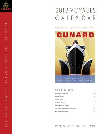 2013 voyages calendar - Official Cunard Line Commodore Cruise ...
