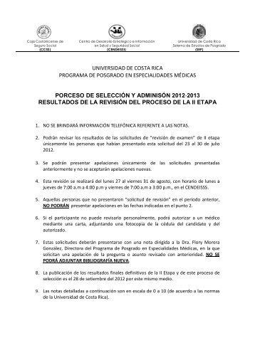 Segundos Resultados Provisionales II etapa 2012 ... - CENDEISSS