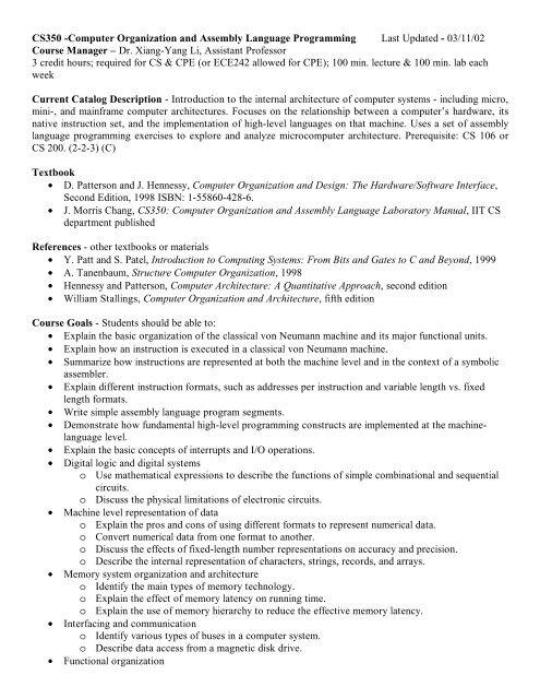 Cs350 Computer Organization And Assembly Language