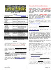 Cactus Needles 1 January 2006 Vol 13 #1, January 2006 Contacts ...
