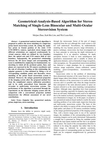 Geometrical-Analysis-Based Algorithm for Stereo Matching of Single ...