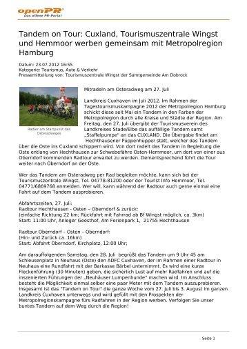 Tandem on Tour: Cuxland, Tourismuszentrale Wingst und Hemmoor ...