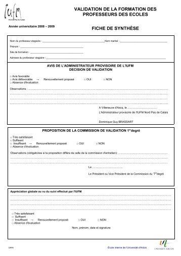 VALIDATION DE LA FORMATION DES PROFESSEURS ... - IUFM
