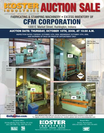 CFM CORPORATION - Koster Industries, Inc.