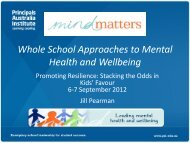 Whole School Approaches to Mental Health and Wellbeing