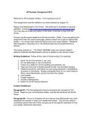 AP Summer Assignment 2013 Welcome to AP European History ...