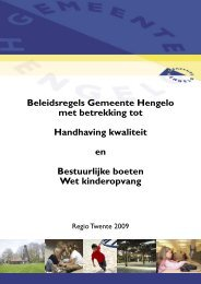 Beleidsregels Gemeente Hengelo met betrekking tot Handhaving ...