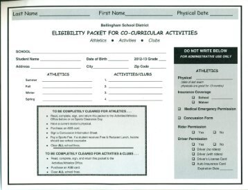 Eligibility Packet - Sehome High School - Bellingham Public Schools