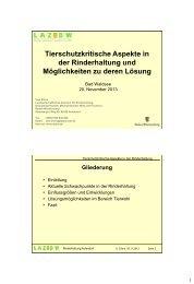 Tierschutzkritische Aspekte in der Rinderhaltung ... - LAZBW Aulendorf