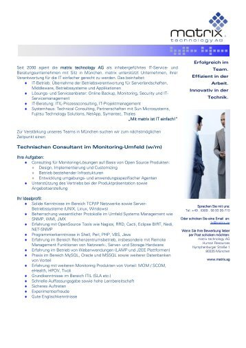 Technischen Consultant im Monitoring-Umfeld (w/m)