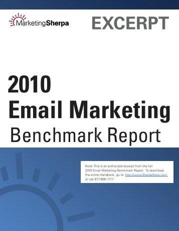 2010 Email Marketing Benchmark Report - MarketingSherpa