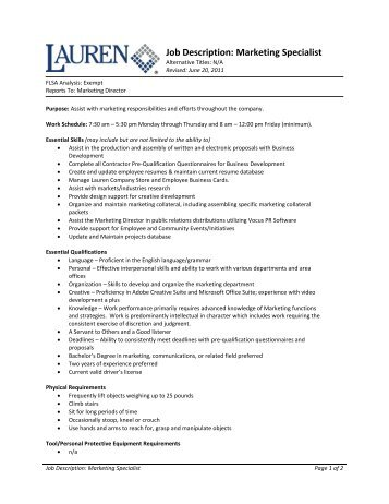 Job Description Project Officer: Mapping Specialist   - Bond