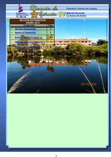 Boletín Informativo - ENERO 2013 - Ejército Nacional