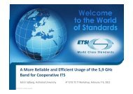 A More Reliable and Efficient Usage of the 5,9 GHz ... - Docbox - ETSI